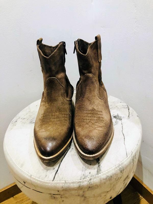 Bottine texane cuir marron